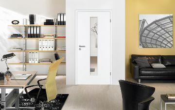 Zimmertüre GARANT-Ambiente Büro, Weißlack-Klarglas. © GEBHARDT Holz-Zentrum GmbH